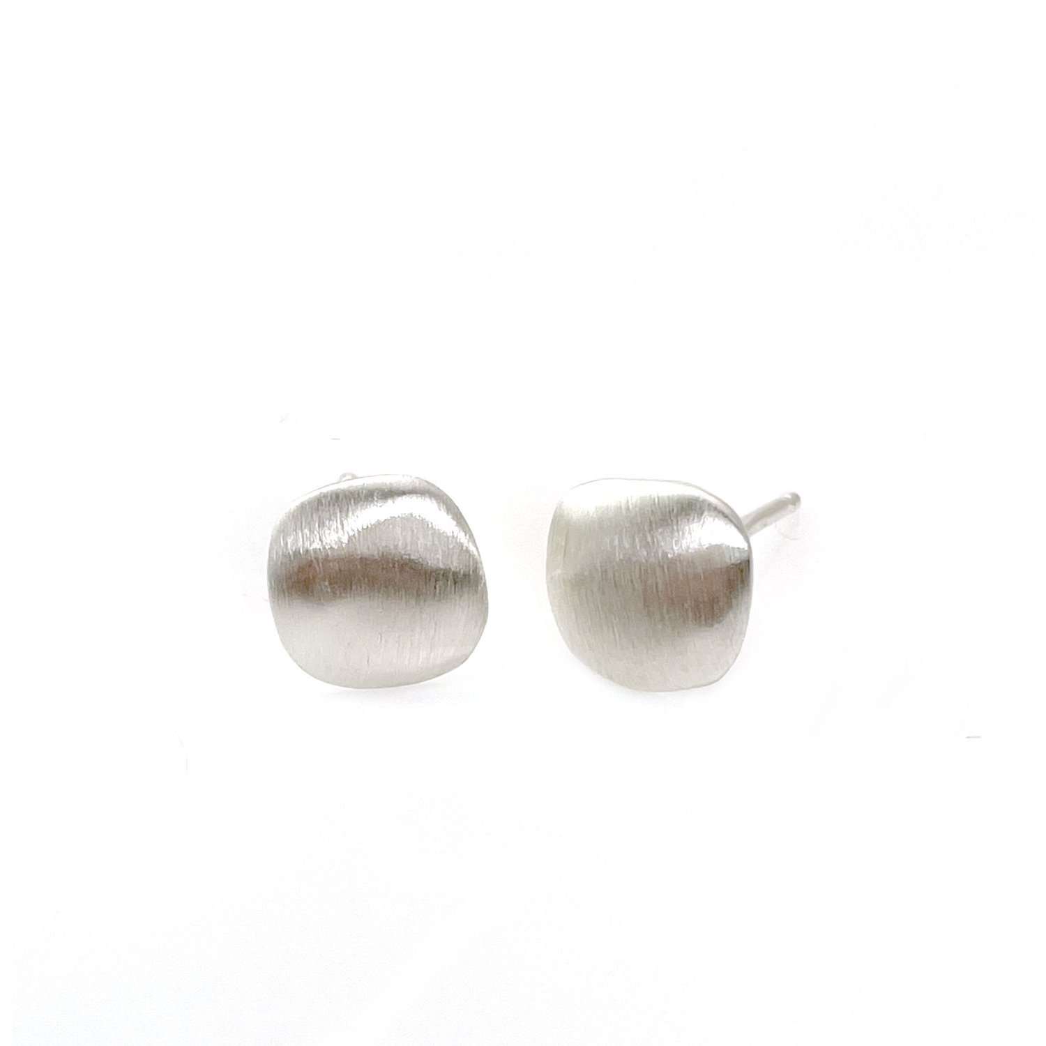 Puffy Square Silver Post Earrings