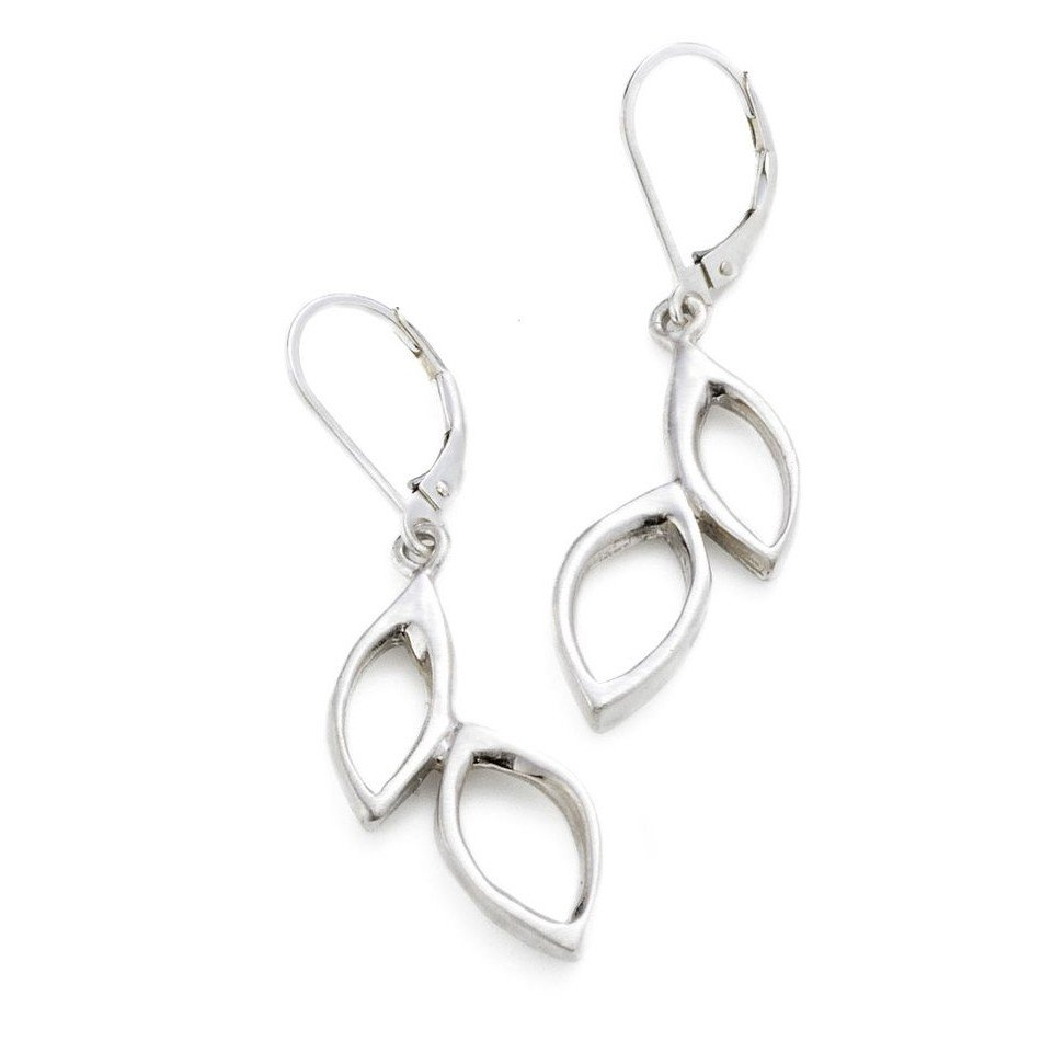 Open Silver Leaves Earrings