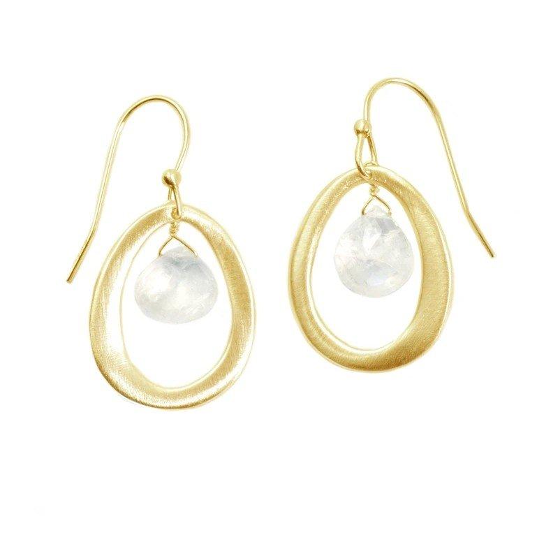 Oval Moonstone Vermeil Earrings