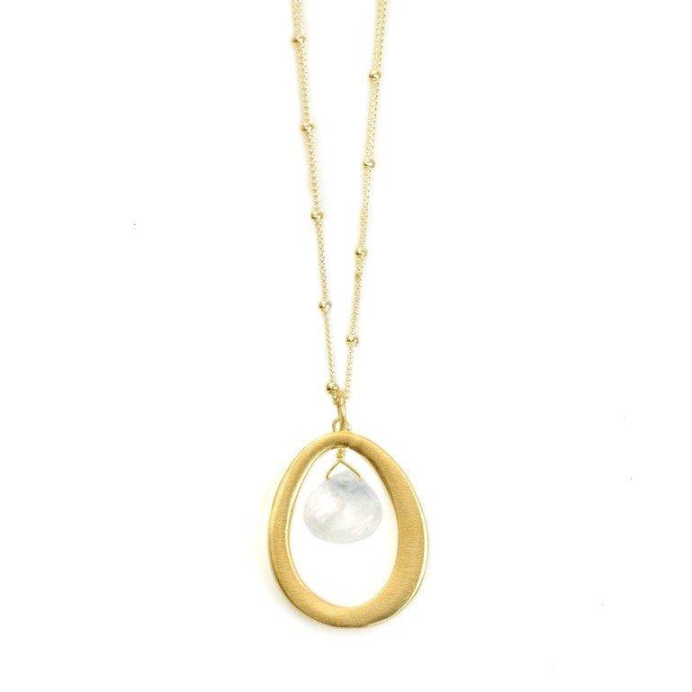 Oval Vermeil Moonstone Necklace