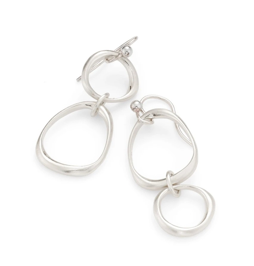 Large Small Circle Silver Earrings