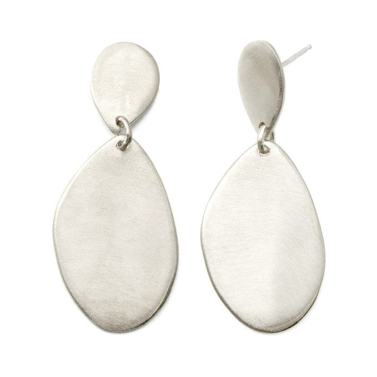 2 Flat Drops Sterling Silver Earrings