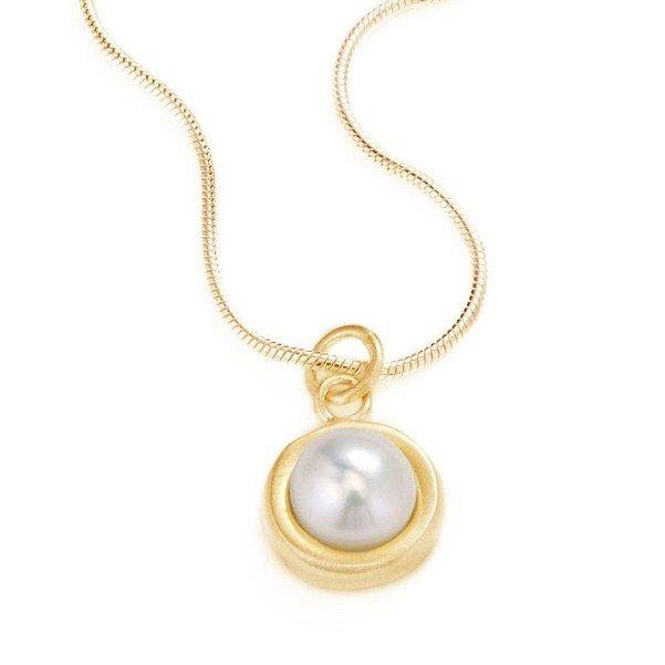 Large Circle Pearl Vermeil Necklace