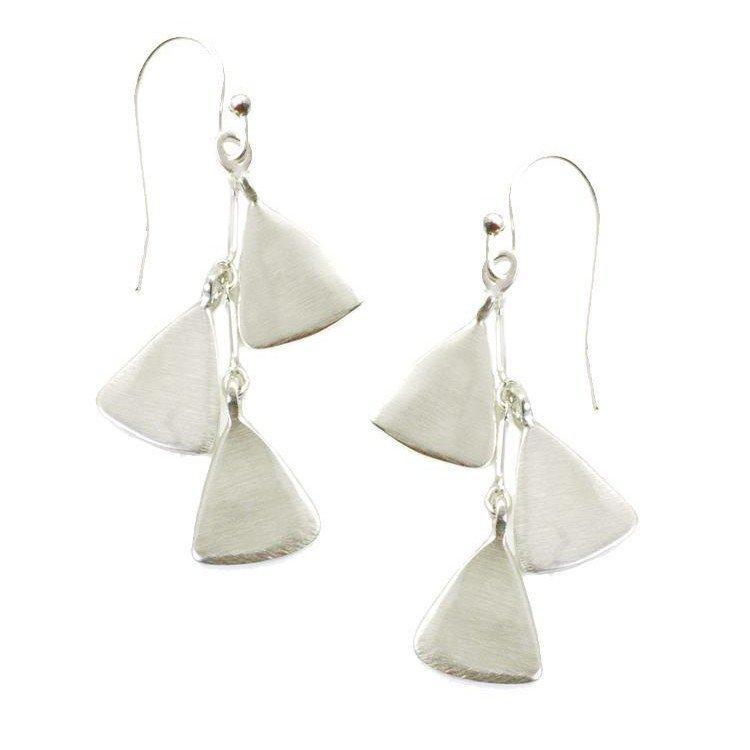 Triple Leaf Silver Earrings