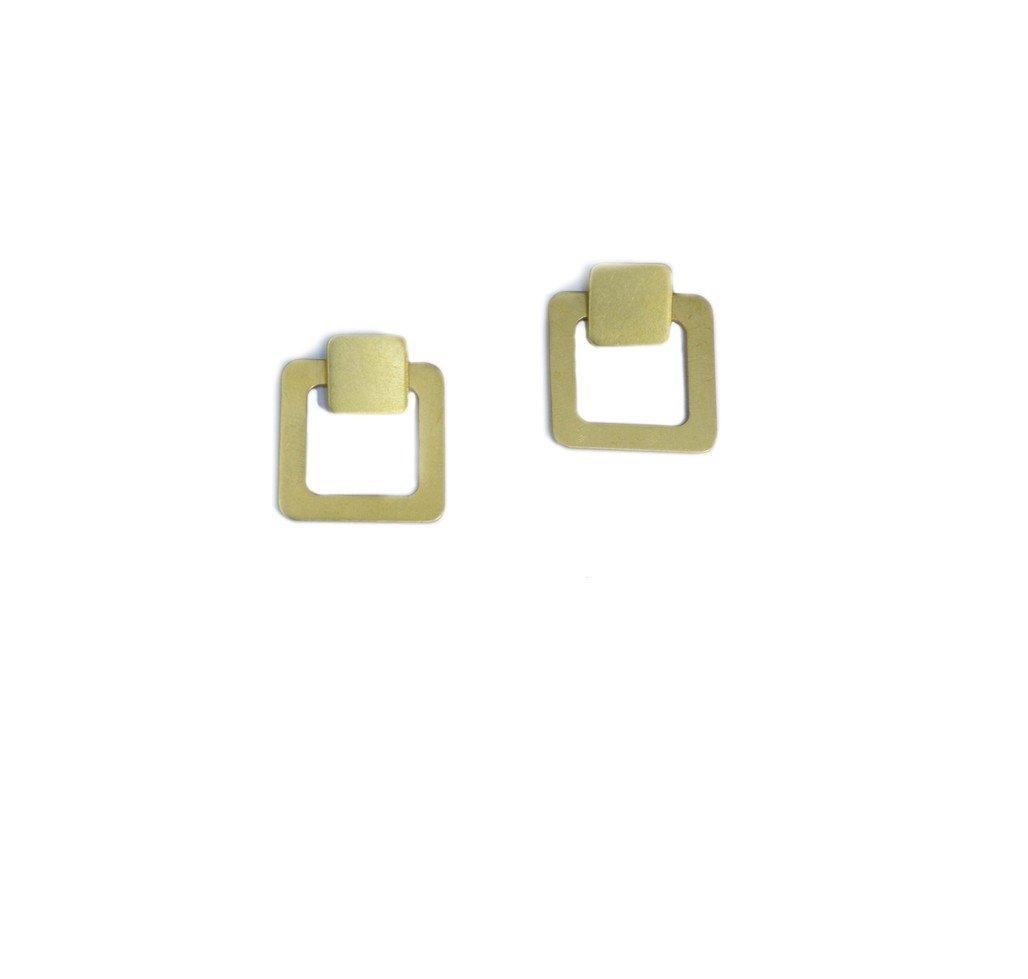 Empty Square Jacket Earrings
