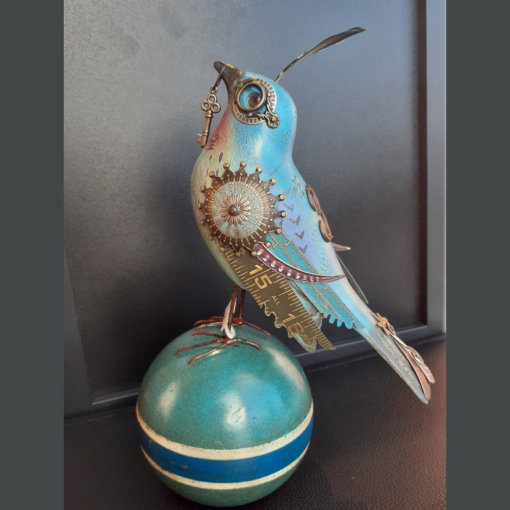 Blue Embillished Bird on Croquet Ball