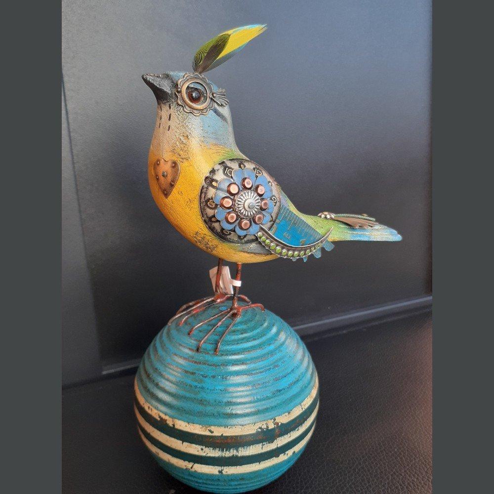 Blue/Yellow Embellished Bird on Croquet Ball