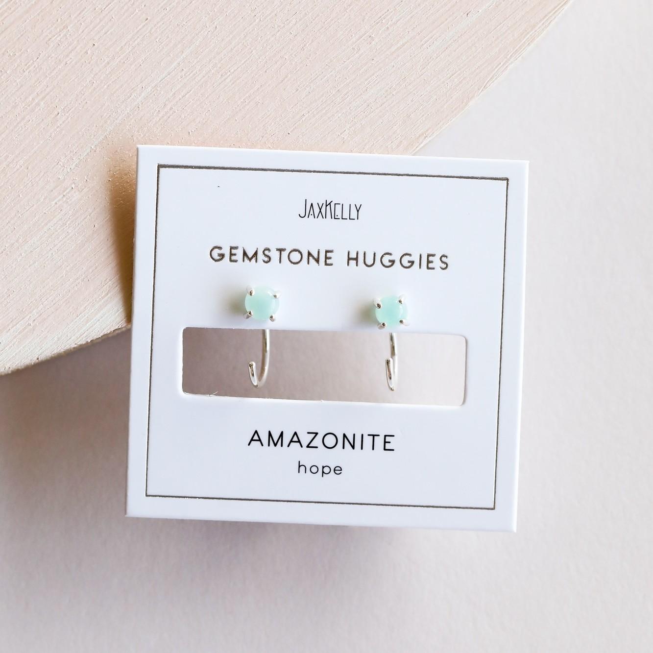 Amazonite Silver Huggie Earrings