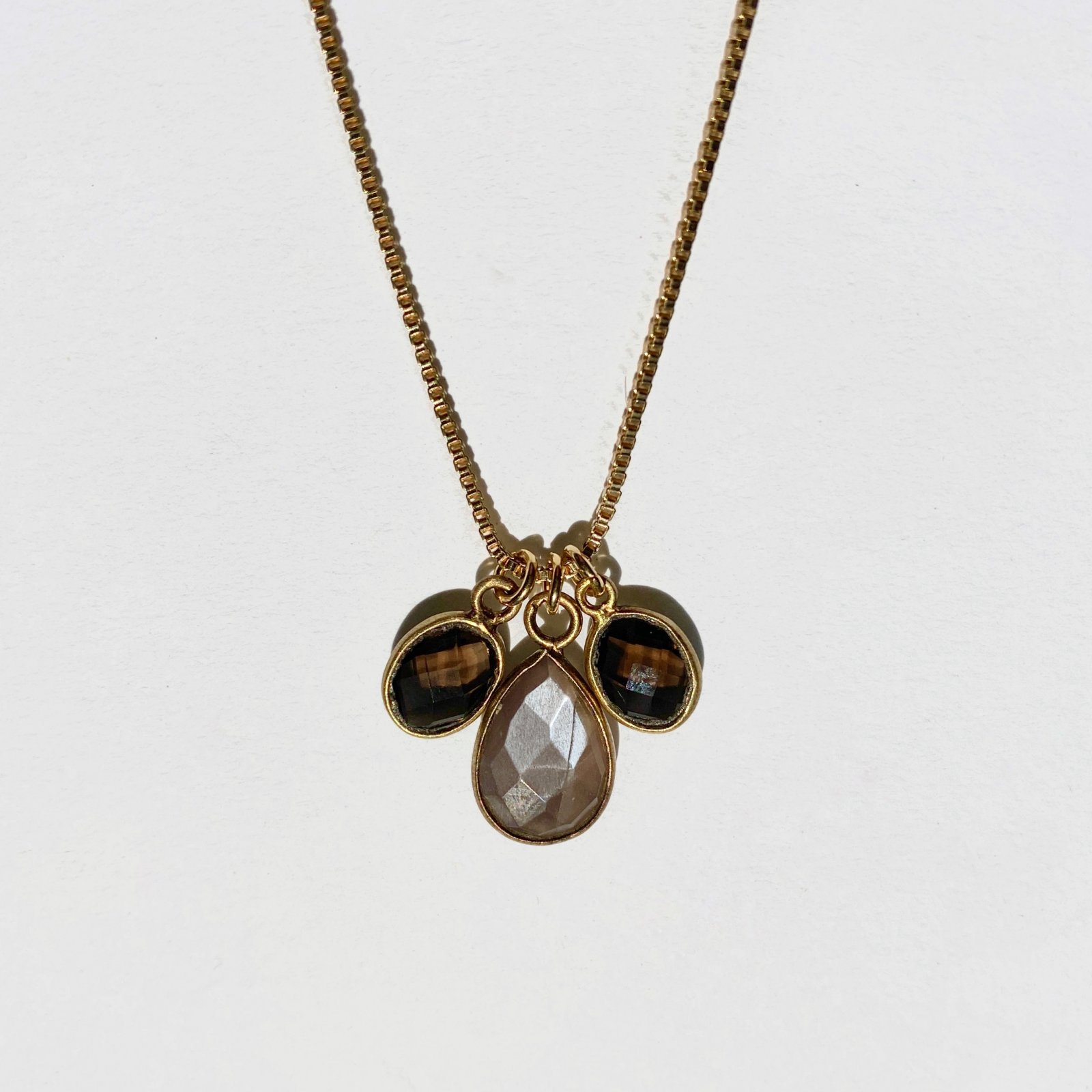 Topaz and Chocolate Moonstone Vermeil Necklace