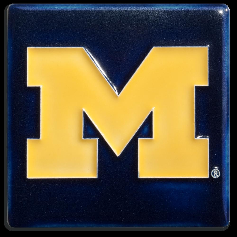 U of M Block M 4x4 Tile in Blue