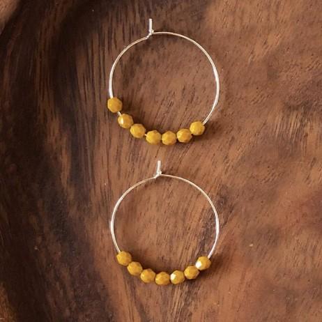 Mustard Beaded Hoop Earrings