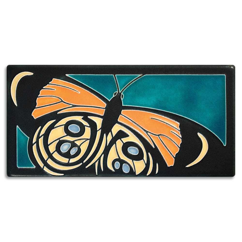 Callie Butterfly 4x8 Tile in Turquoise