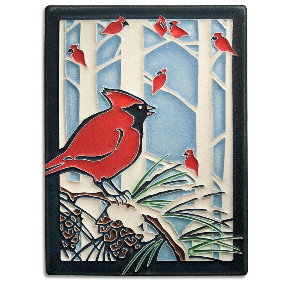 Winter Cardinals 6x8 Tile