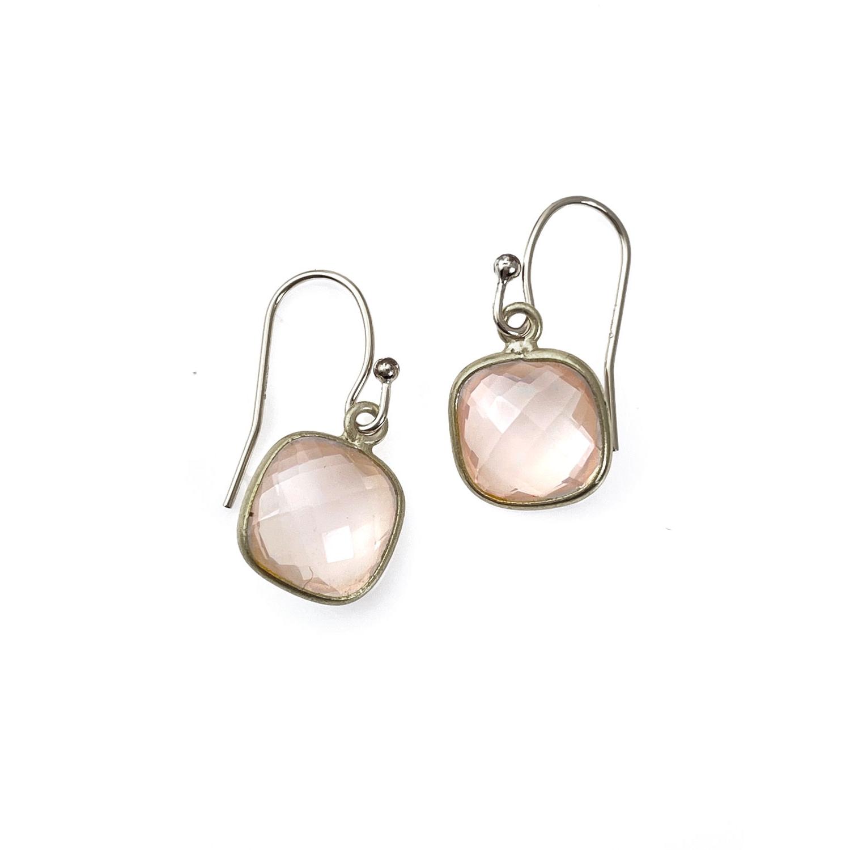 Small Rose Quartz Silver Earrings