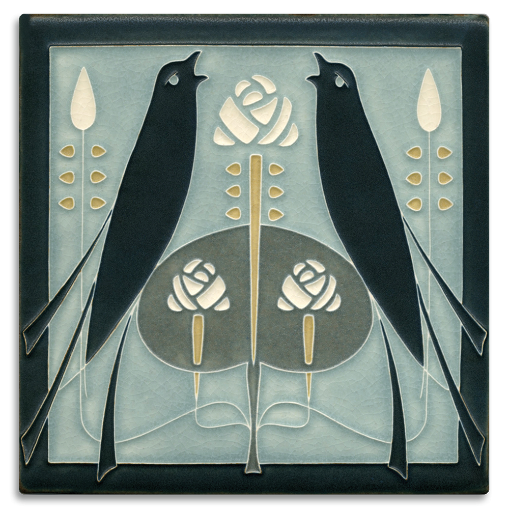 Songbirds Tile in Grey Blue