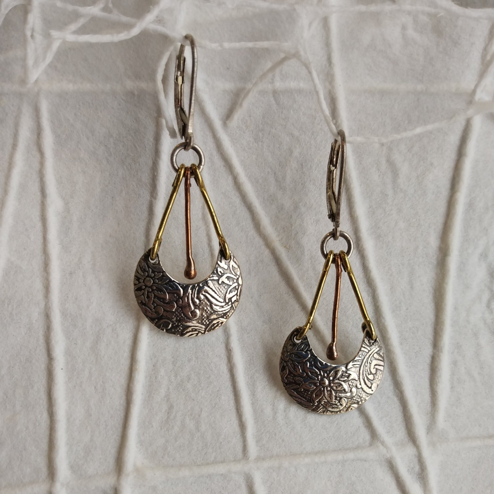 Silver Mixed Metal Earrings