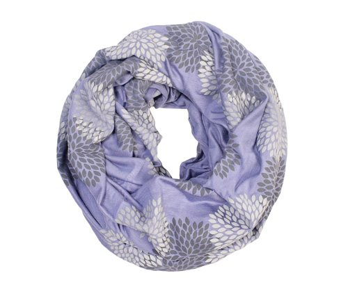 Gray/Periwinkle Flowers Infinity Scarf