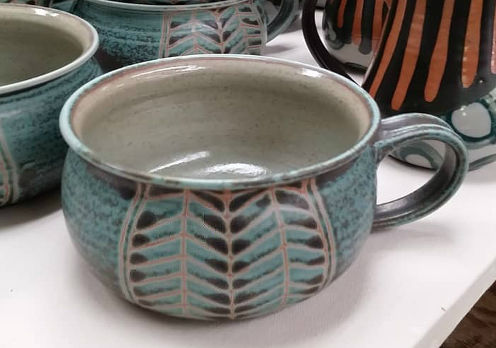 Soup Mug in Aqua Chevron