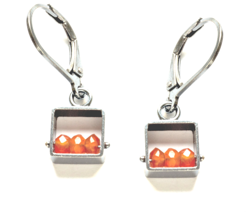 Small Square Carnelian Earrings