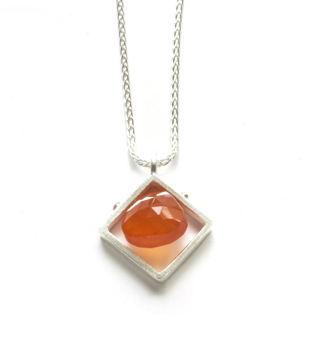 Diagonal Square Frame Carnelian Necklace