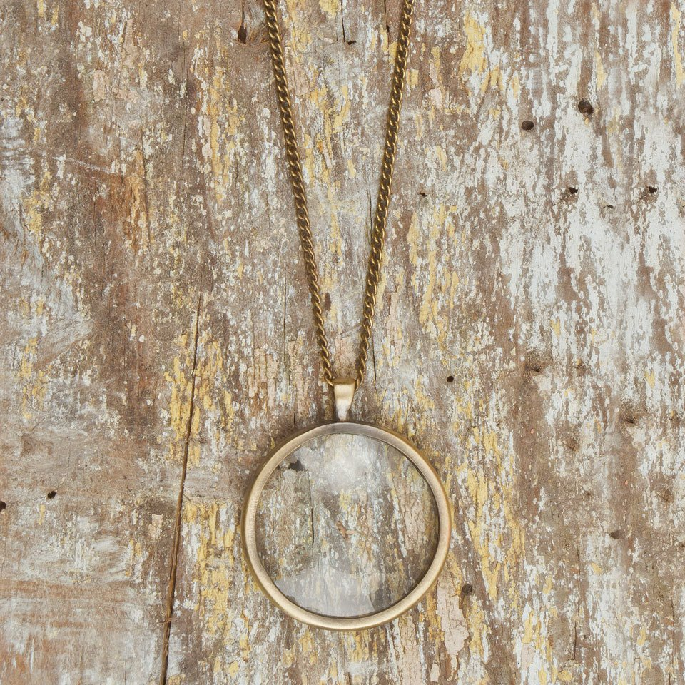 Brass Monocle Pendant Necklace