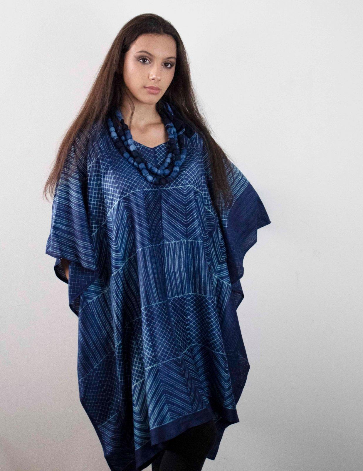 Silk Shibori Short Kaftan