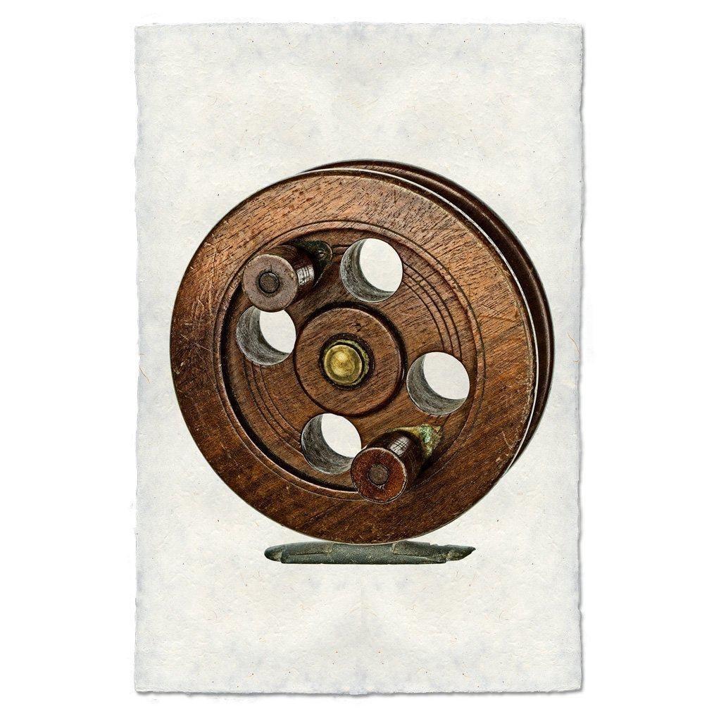 English Walnut Fishing Reel 9x14 Print on Nepalese Paper