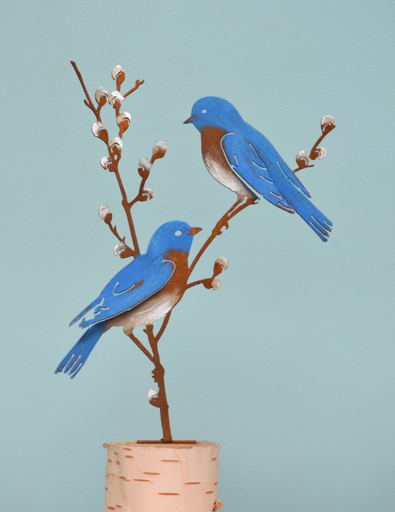 Bluebirds on Pussy Willow