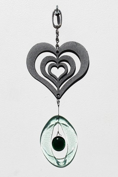 Metal Heart Glass Chime