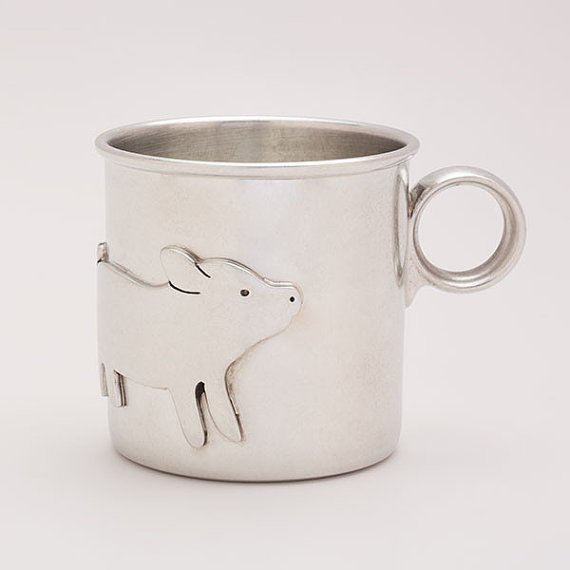 Piggy Baby Cup in Pewter