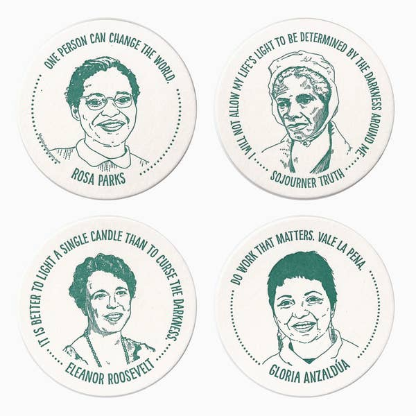 Blue Coaster Set: Inspiring Women