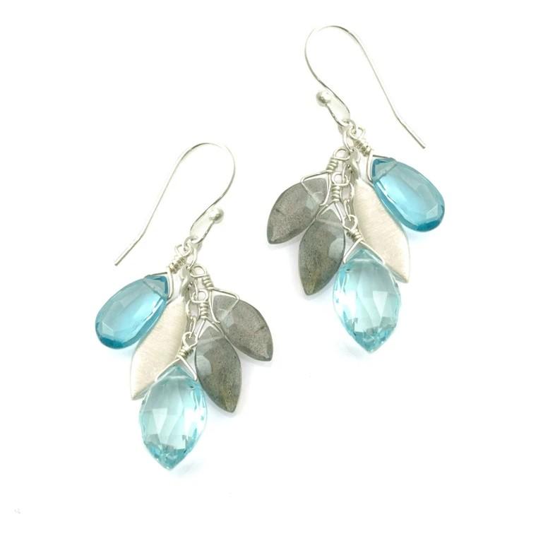 Blue Topaz Labradorite Silver Cluster Earrings