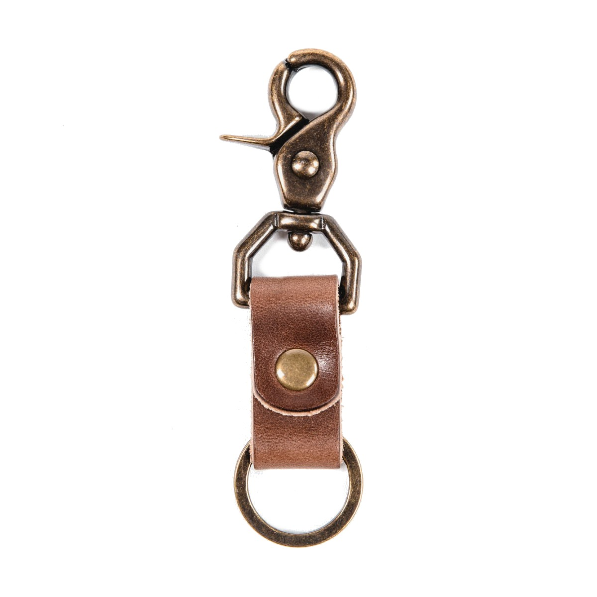 Brass & Leather Key Fob