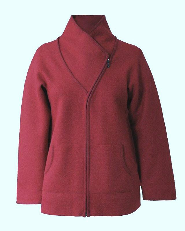 Corina Felted Alpaca Jacket in Sangria (M)
