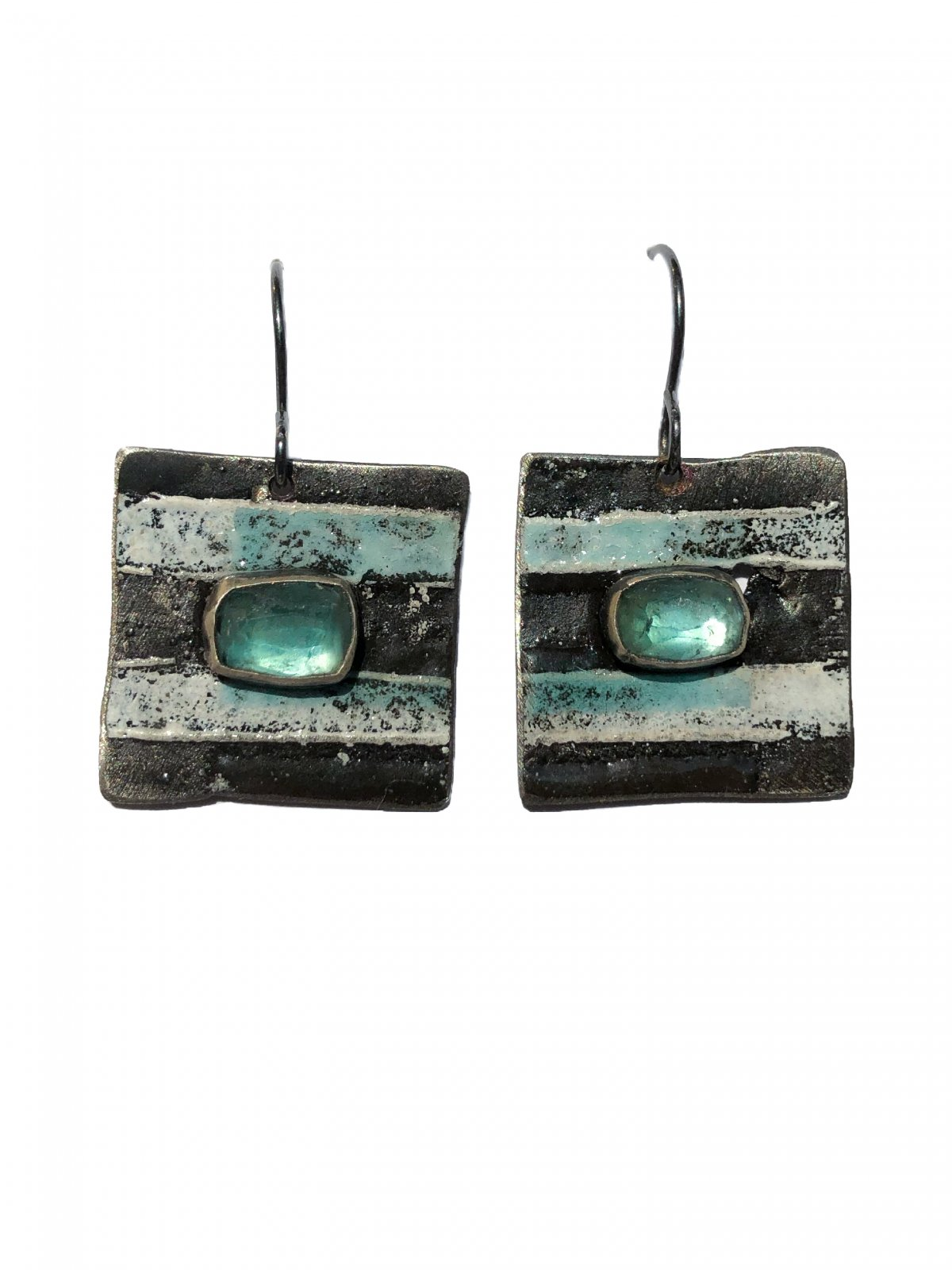 Tourmaline Stripe Enamel Earrings