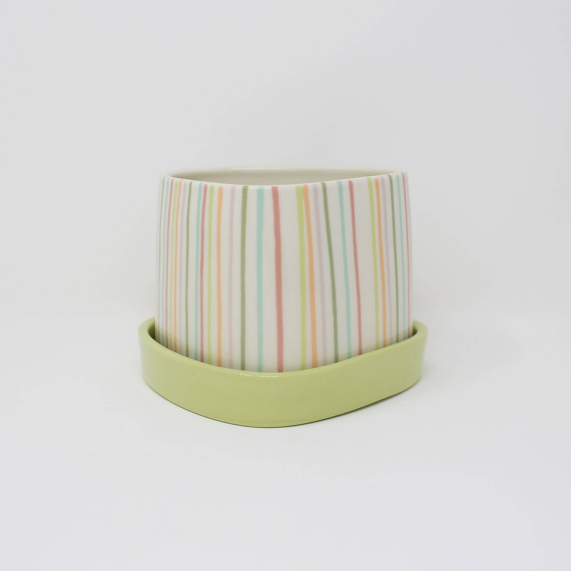 Small Lines Planter & Plate Set