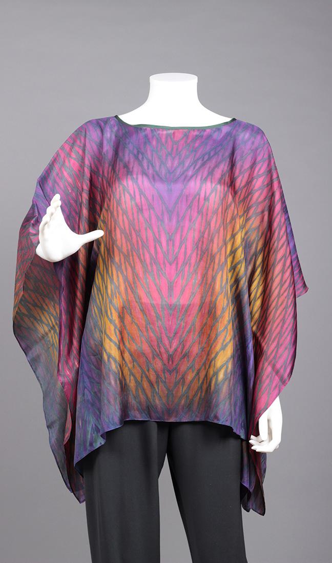 Purple/Orange Silk Poncho