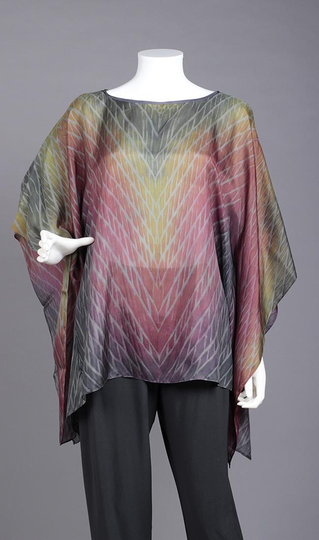 Grey/Magenta Silk Poncho