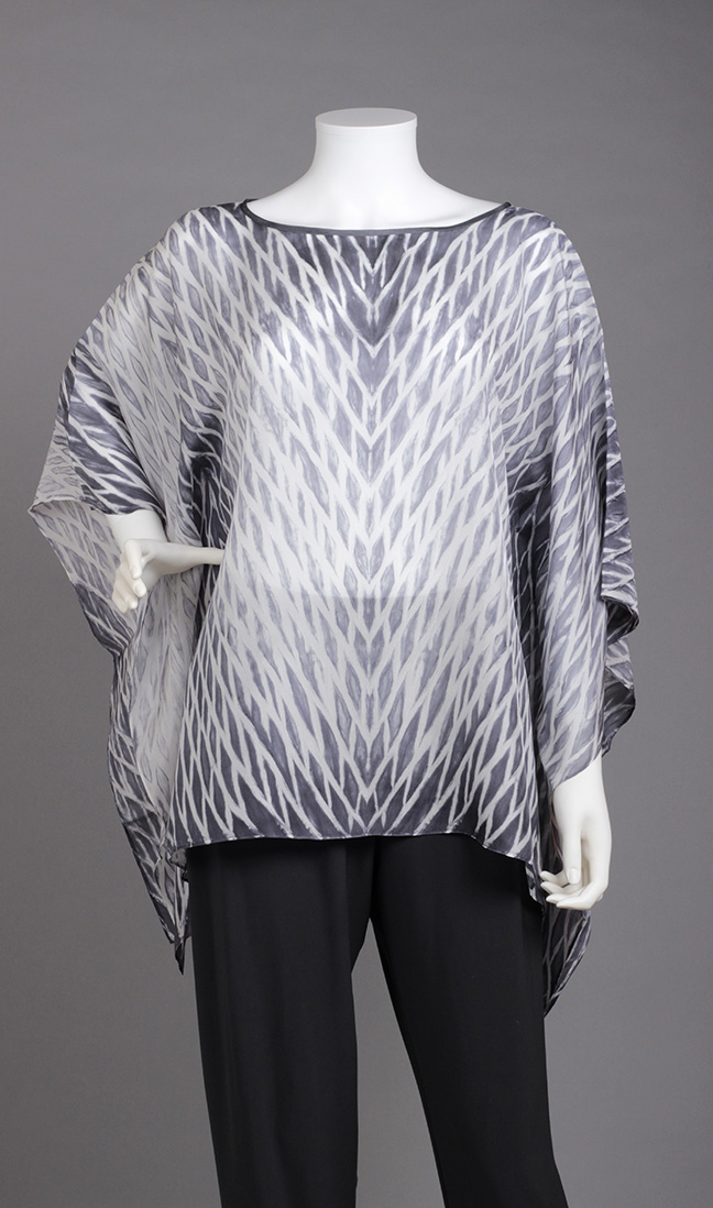 Black & White Silk Poncho