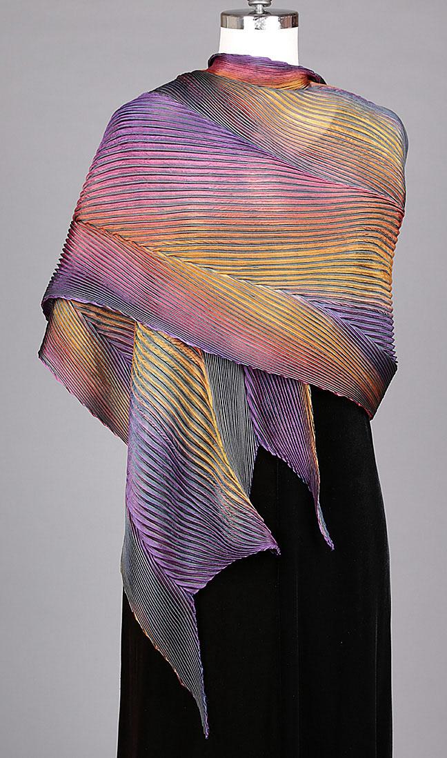 Purple/Orange Silk Shawl
