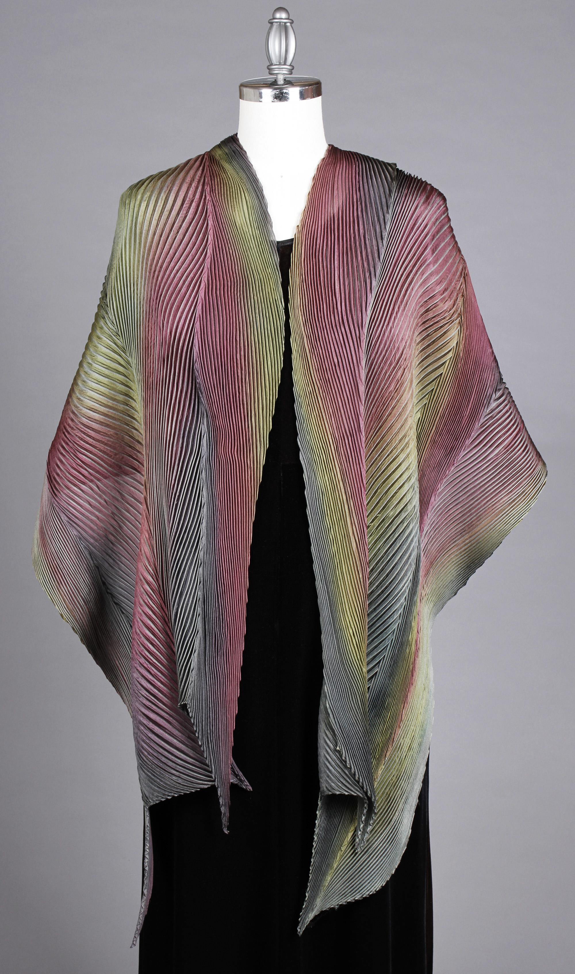 Grey/Magenta Silk Shawl