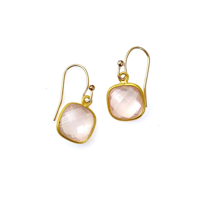 Small Rose Qtz Vermeil Earrings