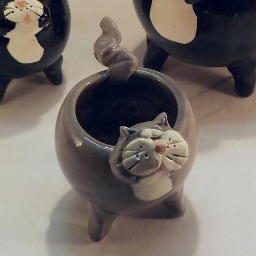 Gray Cat Succulent Planter