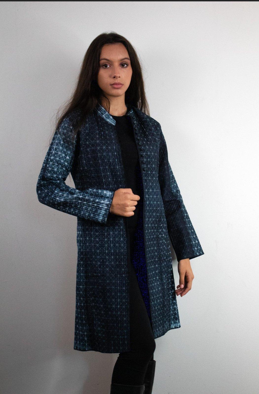 Long Silk Quilted Shibori Jacket