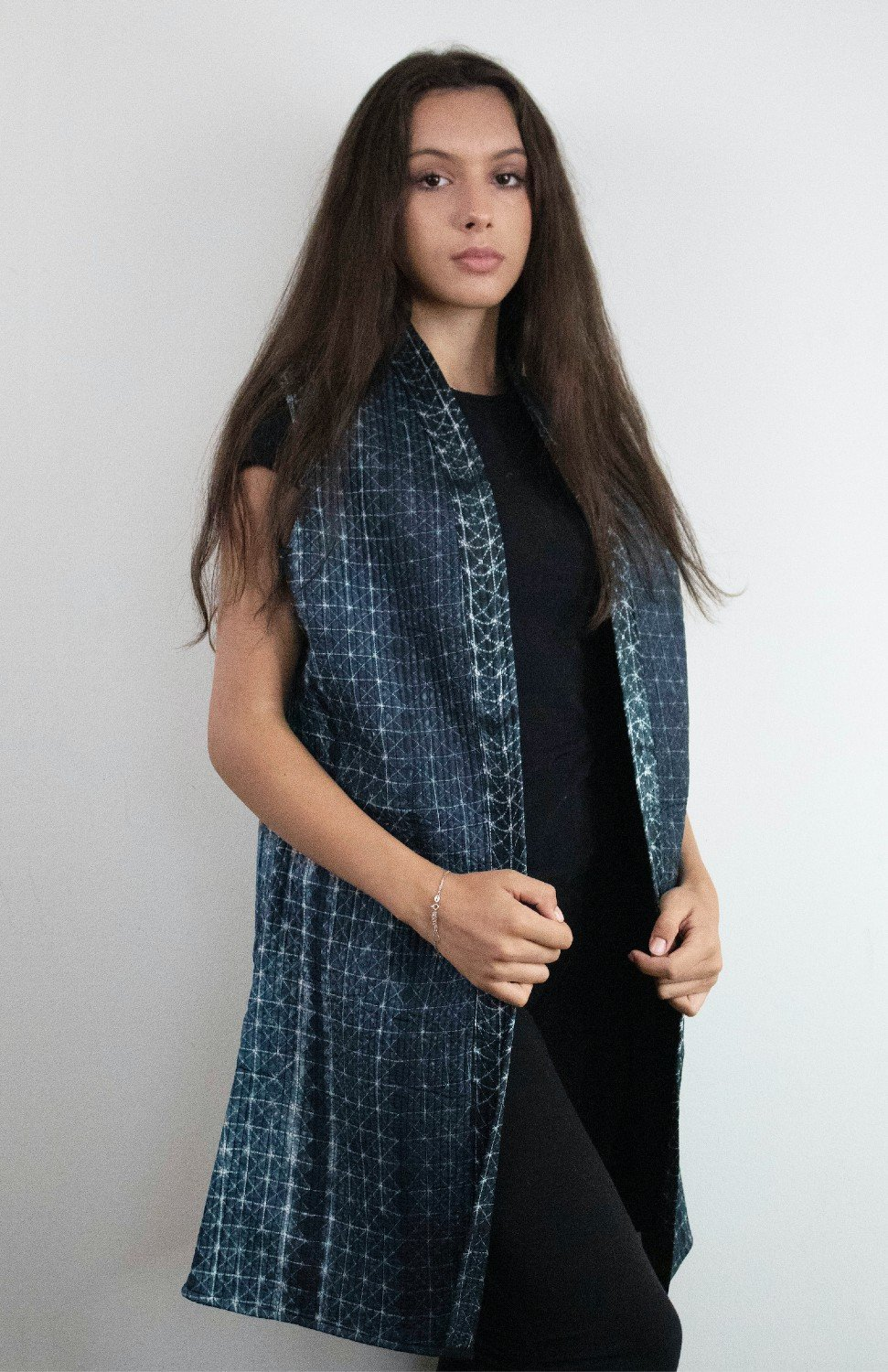 Long Silk Shibori Quilted Vest