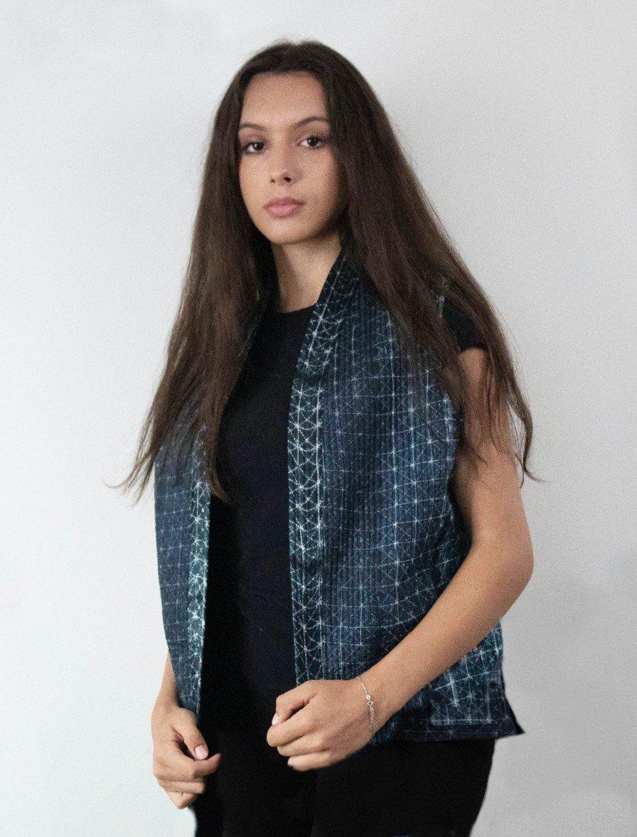 Short Quilted Silk Shibori Vest