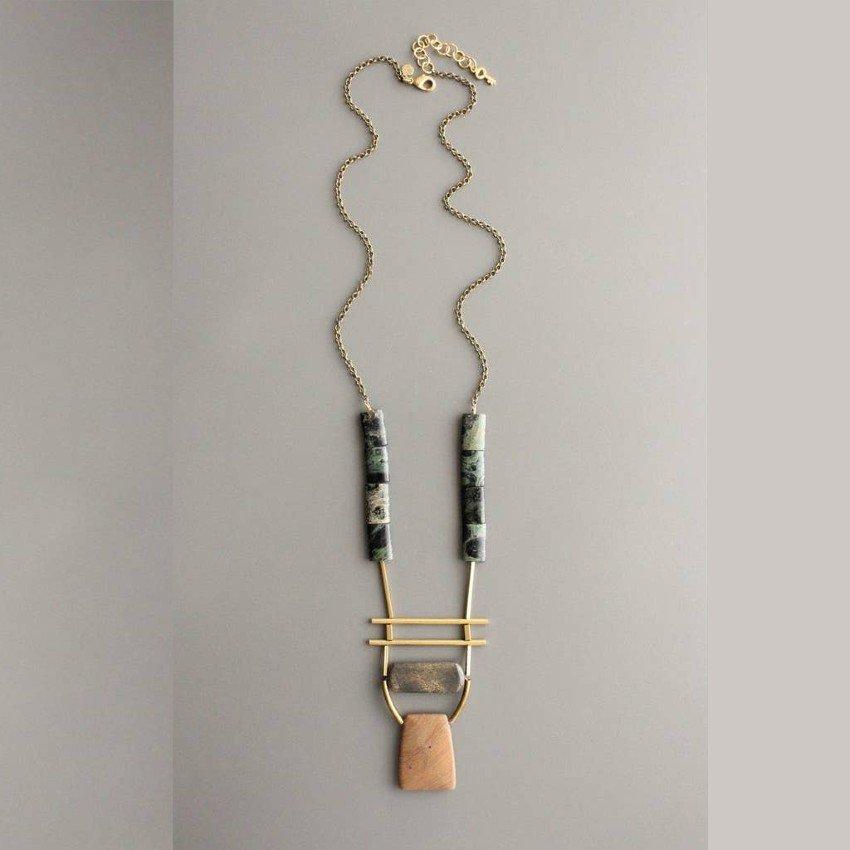 Long Jasper & Brass Necklace