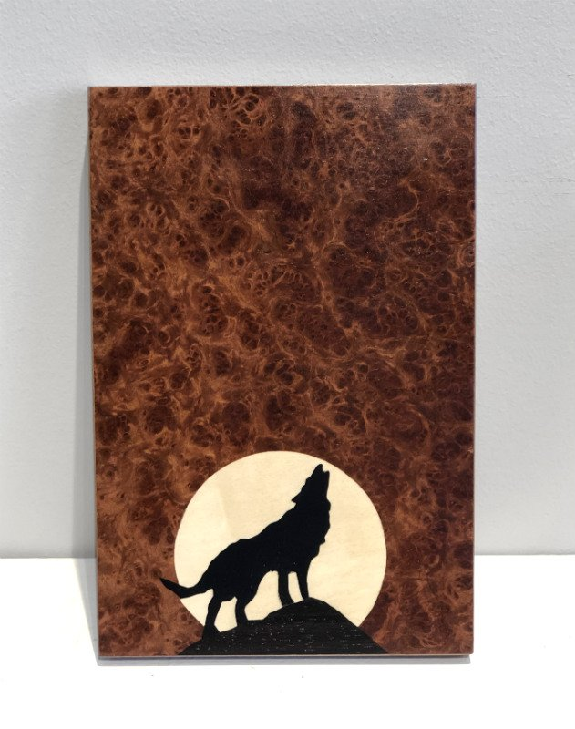 Howling Wolf Marquetry Art