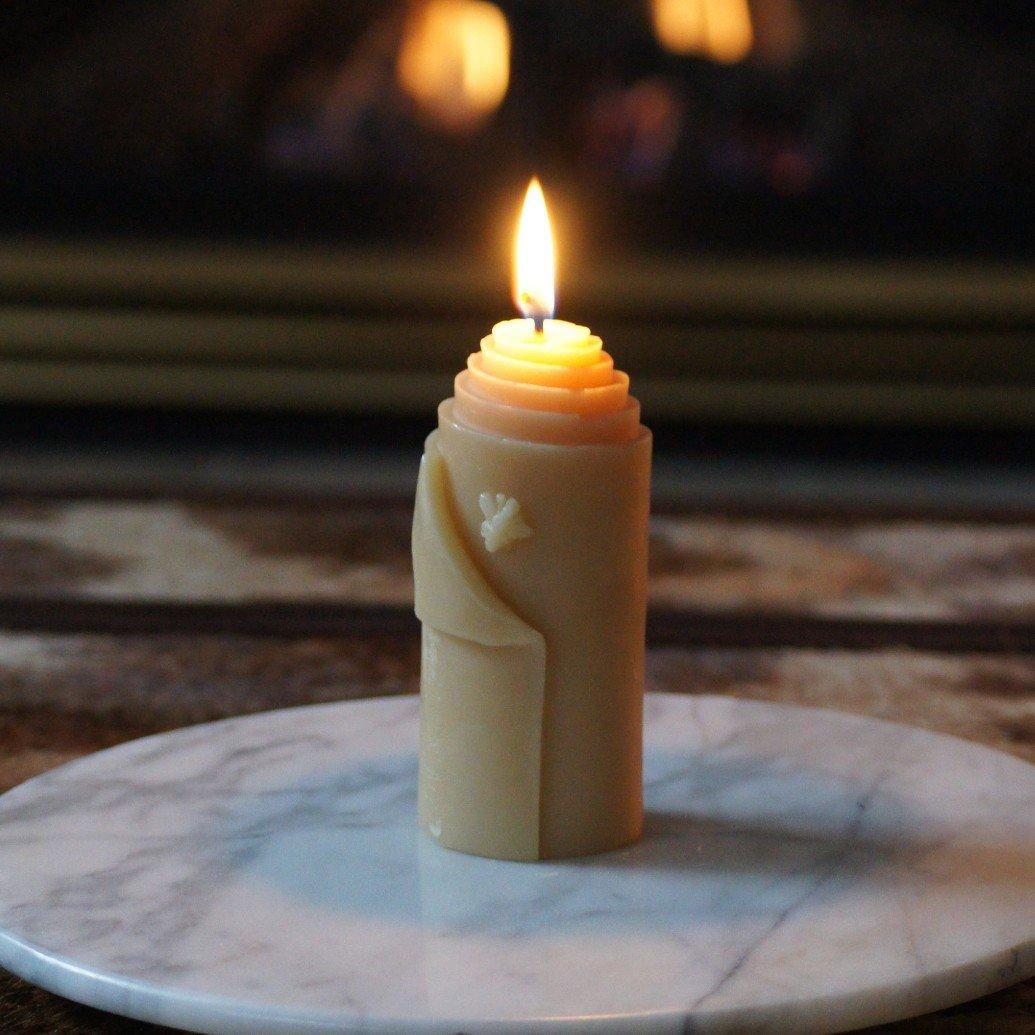 Bee Beeswax Pillar Candle
