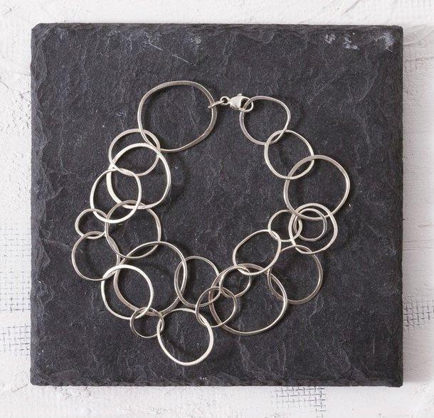 Concentric Chain Silver Bracelet